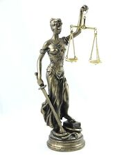 GREEK GODDESS THEMIS STATUE BRONZE TONE BLIND LADY JUSTICE SCULPTURE LAWYER GIFT