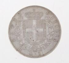 Italia 5 lire 1878 Vittorio Emanuele II silver coin exc MB++         M017