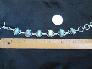 Blue Labradorite Gemstones Cabochon Set in Sterling Silver Chain Bracelet
