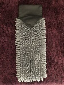 "Norwex Chenille Hand Towel Gray Baclock 14.96"" X 4.8"" MICROFIBER"