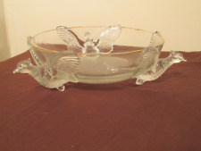 Vintage JEANNETTE 3 Footed PHEASANT Candy Dish Bowl Clear Gold Trim