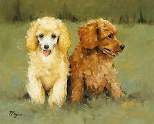 Pintura Al Óleo Original - 2 Caniche Perro / Puppys por UK Artista J Payne