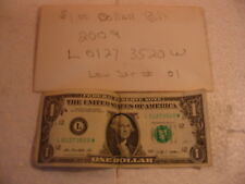 FANCY 2009 $1 ONE DOLLAR FEDERAL RESERVE NOTE L 01273520 W LUCKY DATE LOW #