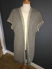 ANNE & CO BY EUGEN KLEIN BLACK / CREAM TEXTURED KNIT LONG CARDIGAN 18 RRP £169