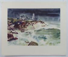 Vintage FRANK WAGNER The Lighthouse Seaside Landscape Print Lithograph #Z205