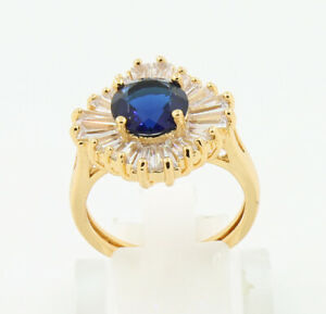 Pretty Jewelry Natural 2.61ct Sapphire 14k Solid Yellow Gold Ring Size 8#