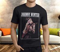 New JOHNNY WINTER BLUES GUITARIST FENDER GIBSON Men's Black T-Shirt Size S-3XL