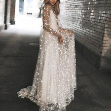 Women Fairy Dress Glitter Stars See Through Maxi Dress Party Ball Gown Wedding