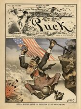 JEREMIAH O' DONOVAN ROSSA AS GORILLA SWINGING FROM AMERICAN FLAG ATTACKS ENGLAND