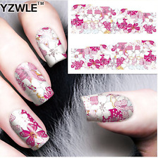 Nail Art Stickers Transfers Decals Pink Flowers (A-85)