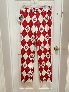 Loudmouth MLB Washington Nationals Argyle Red/White/Curly W Golf Pants 32 X 34