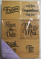 Set of 6 Wedding Stamps 2 Inch Square each Wood Mounted Rubber Hampton Art New