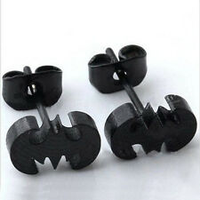 Women Punk Stainless Steel Black Bat Batman Unisex Earring Ear Stud Gift