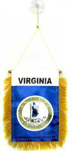 """Wholesale lot 3 State of Virginia Mini Flag 4""""x6"""" Window Banner w/ suction cup"""