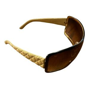 Chanel 4155-Q 369/13 Shield Sunglasses Beige Quilted Leather Temples - FLAWED