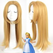 Alice In Wonderland Alice Middle Parting Blonde Heat Resistent Cosplay Wig E087