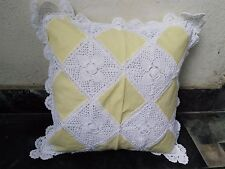 """LINEN LACE CUSHION COVER  24""""X 24"""" WHITE and YELLOW COLORED  HANDMADE"""