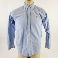 Ralph Lauren Blue Long Sleeve Pony Button Down Casual Dress Shirt Mens Size 15