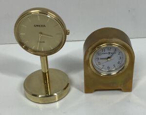 Pair Of Miniature Clocks -Howard Miller & Sweda