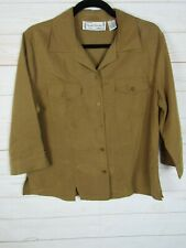 Sarah Bentley Womens Long Sleeve Petite Brown Button Up Blouse Size PM W795