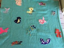 Baby Blanket Throw Crib Blue Green Hand Made Wool Blend Animals Heirloom Heavy