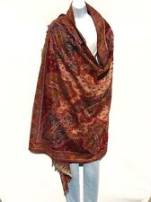 Yak/Sheep Wool Blend|Shawl/Throw|Handcrafted| Kashmiri|Colors: Red/Blue/Sand