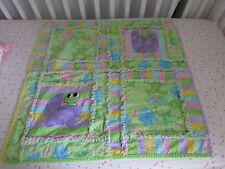 """Baby Rag Quilt  Blanket Applique Frogs Flannel Handmade 24"""" x 24""""  Doll Adorable"""