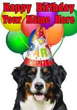 Bernese Mountain Dog Party Hat Card PIDY54 Personalised Greeting Card PARTY DOG