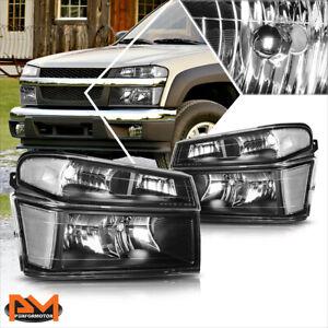 For 04-12 Chevy Colorado/GMC Canyon Bumper Headlight/lamps Clear Corner Black
