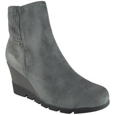 Womens Ladies Ankle Boots Faux Suede Sock Detail Mid Heel Zip Wedge Shoes Sizes