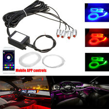 6M RGB LED Car Interior EL Neon Strip Light Sound Active Bluetooth Phone Control