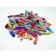 30Pcs Suede Leather Tassel DIY Keychain Pendant Jewelry Finding Charms Hot