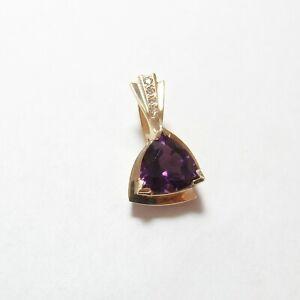 Estate 14K Yellow Gold 4.00 Ct Natural Grape Purple Amethyst And Diamond Pendant