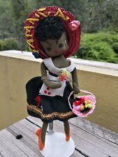VTG JAMAICA SOUVENIR BLACK STOCKINETTE DOLL FROM JAMAICA - STRAW HAT - FRUITS