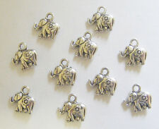 10 Elephant Charms, Animal Charms - Metal Antique Silver - 12mm