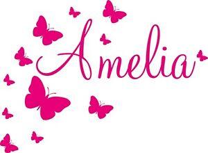 Baby Name Wall Stickers Butterflies Girl Boy Kids Personalised Decal Custom