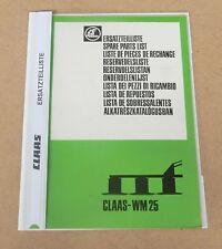 CLAAS Wirbelmäher WM 25  Ersatzteilliste 1981 Original