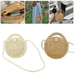 Women Bohemia Straw Bag Woven Round Rattan Handbag Summer Beach Crossbody Bags