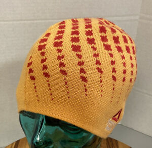 REEBOK CROSSFIT WINTER BEANIE HAT YELLOW/RED OSFM EXCELLENT CONDITION