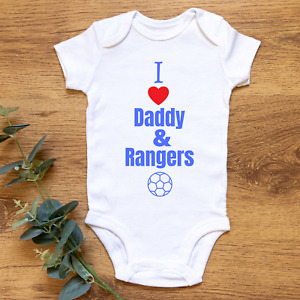FOOTBALL I LOVE DADDY & RANGERS  FUN BABY BODYSUIT VEST 100% COTTON