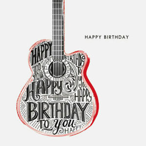 Guitar Happy Birthday Greeting Card with Envelope