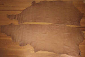 2 brown embossed leather hides Egyptian hieroglyphic theme 0.8mm 2 oz 41 sq ft