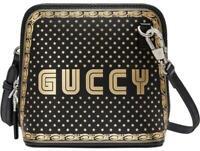 Gucci Logo Moon & Stars Black Leather Cross Body Bag Retail $1790