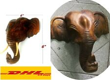 """6"""" Elephant's Head Wooden Sculpture Hand Carved Wall Hanging Home Decor Collec"""