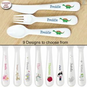 Children's 3 Piece Plastic Cutlery Set Personalised Boys & Girls - 9 Designs