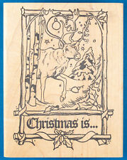 Christmas Is. Reindeer Rubber Stamp - Snowy Winter Scene in Branch Frame