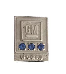 GM CPC Group Gold Filled Blue Sapphire 15 Year Employee Service Award Lapel Pin