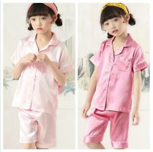 Girls Silk Satin Pajamas Pyjamas Kids Child Short sleeve Sleepwear Set Nightwear