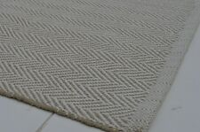 Floor Rug 100 Cotton Herringbone Weave Pebble Natural / White 90x150cm 3x5'