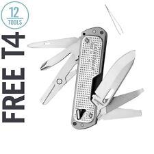 LEATHERMAN Free T4 Multi-Tool and EDC Pocket Knife, Stainless Steel
